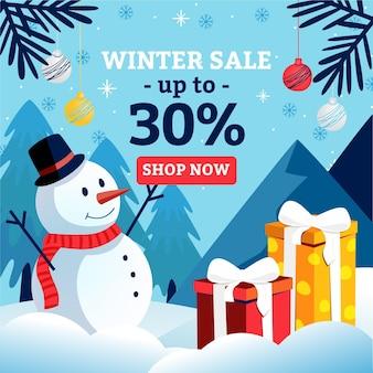 Winterverkaufsrabatt mit illustriertem schneemann