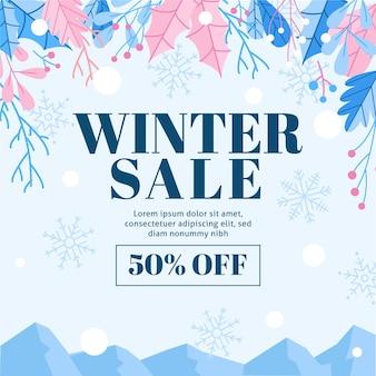 Winterverkaufsrabatt mit illustrierten elementen