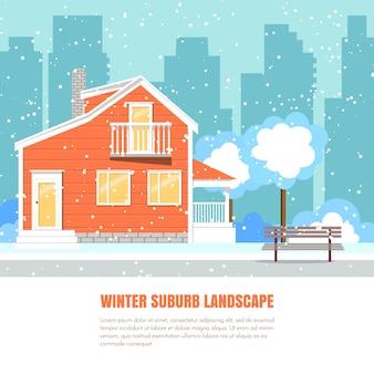 Wintervorortlandschaft mit pulverisiertem haus, bäumen auf schneebedecktem boden und stadt backgro