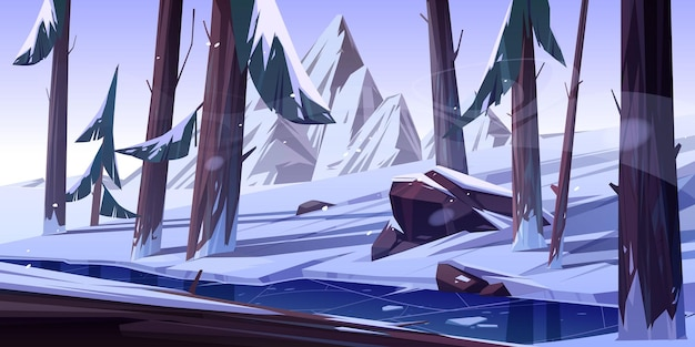 Winterwald mit gefrorenem teich.