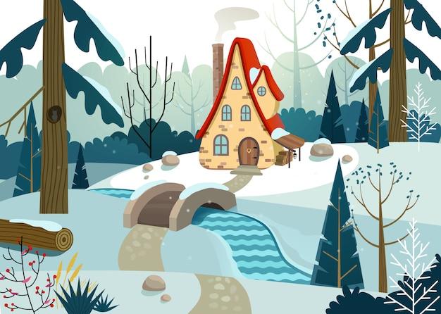 Winterwald mit haus und brücke über den fluss. haus umgeben von bäumen und schnee. illustration.