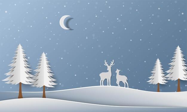 Winterwald mit papierkunstillustration der hirschfamilie