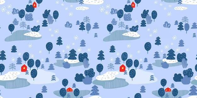 Winterwaldlandschaft, rote hütten und nahtloses muster der bäume. nordischer naturvektorhintergrund.