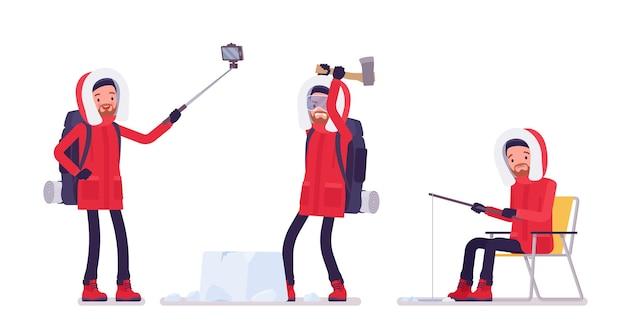 Winterwanderer genießen outdoor-aktivität