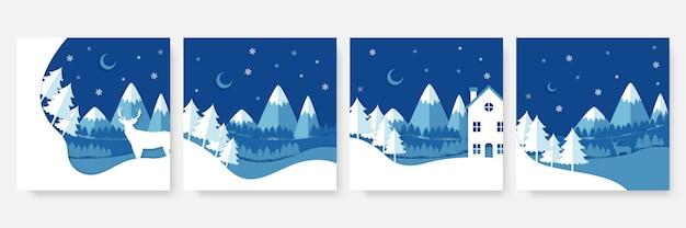 Winterweihnachts-social-media-post-vorlage. kartenvorlage mit ballon, schneemann, geschenk, schnee und palme. verwendbar für social media, banner und internet-werbung.