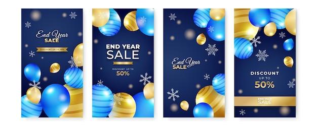 Winterweihnachtsdekoration für das ende des jahres und den verkauf des neuen jahres. weihnachtsgeschichte soziale meida-vorlage. winterweihnachten mit ballon, stern und schneeflocke.