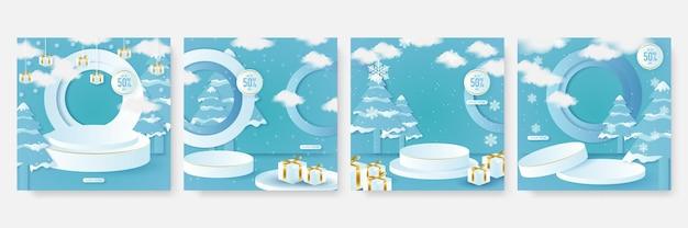 Winterweihnachtshintergrund für social-media-postschablone mit bühnenpodium. anzug für werbung, werbung, banner, grußkarte, produktpräsentation, verkaufsbanner, neujahrsbanner, ausstellung, geschenk