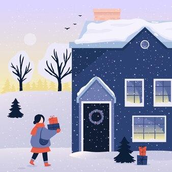 Winterweihnachtshintergrundfrau mit geschenken.