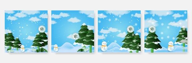 Winterweihnachtskomposition im realistischen stil. frohe weihnachten-universal-grußkarte mit schneemann, baum und schnee. vektor-illustration.
