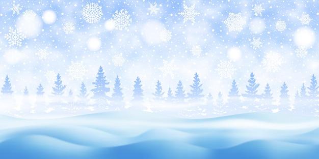 Winterweihnachtslandschaft, fallender schnee, wald und schneesturm, vektorillustration