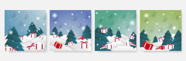 Winterweihnachtsneujahrs- und -jahresschlussverkaufsquadratschablone für social media. universelle weihnachtswinterkarte mit schnee, ballon, geschenk, baum, berg, stern und schneeflocke, glitzer und schneemann.