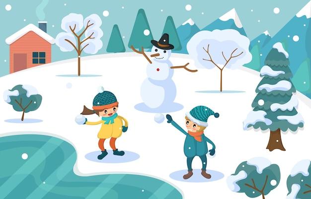 Winterwunderland im rosa pastellhintergrund. kinder spielen draußen mit schneemann und schneeball.