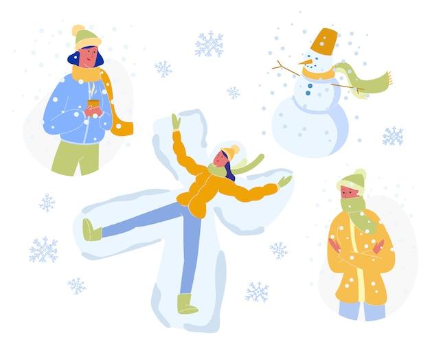 Winterzeit-aktivitäten und ferien-freizeit-set