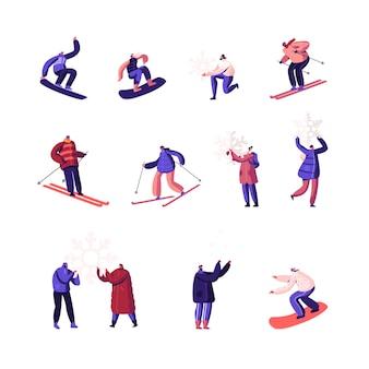 Winterzeit saison feiertage unterhaltung aktivitätsset. karikatur flache illustration