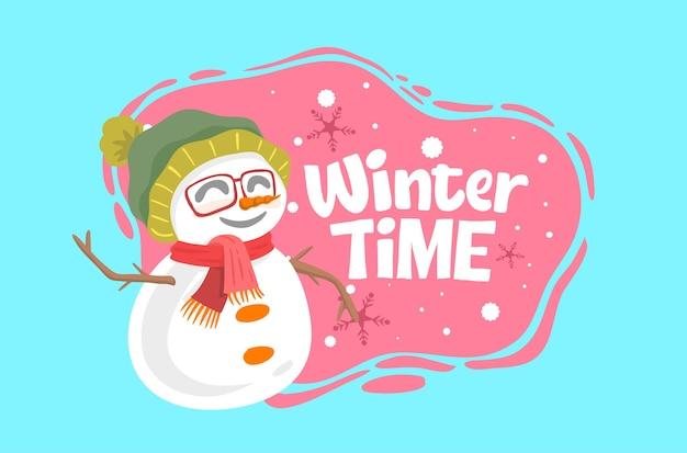 Winterzeitkonzept mit einem schneemann