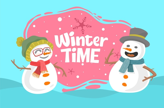 Winterzeitkonzept mit schneemännern