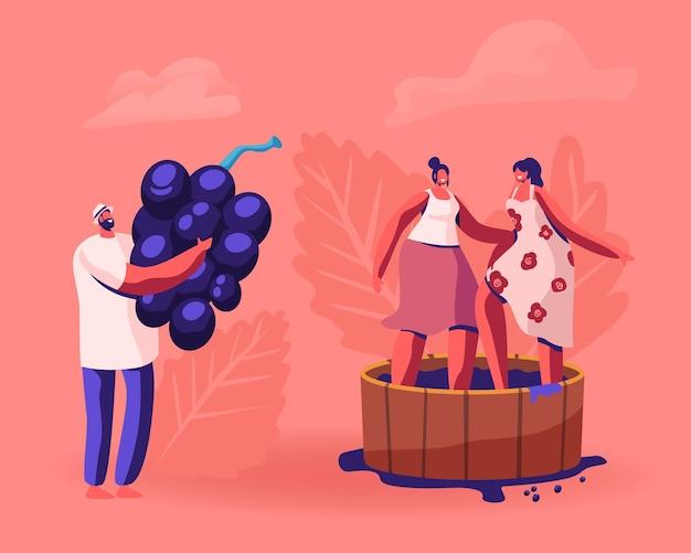 Winzer, der riesige frisch abgeholte weintrauben hält und auf weinberg erntet. karikatur flache illustration