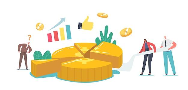 Winzige aktionärsfiguren schneiden riesigen geldkuchen. geschäftsleute und geschäftsfrauen-team beteiligen sich an der gewinnteilung, kommerziellen nutzen für geschäftsbeteiligte. cartoon-menschen-vektor-illustration