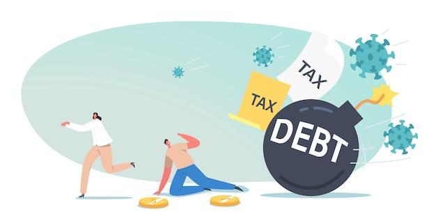 Winzige business-investoren-charakter fliehen mit burn fuse vor riesiger schuldenbombe. weltwirtschaftskrise aufgrund der covid-pandemie. weltweiter finanzkollaps, ausbruch. cartoon-menschen-vektor-illustration