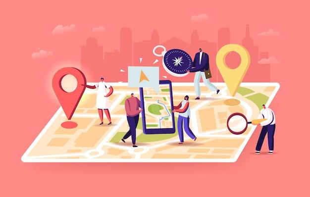 Winzige charaktere auf einer riesigen standortkarte, die leute verwenden die online-anwendung auf dem smartphone mit geolocation-app-pins. suche nach route, entfernungen, navigationspositionierungskonzept. cartoon-menschen-vektor-illustration