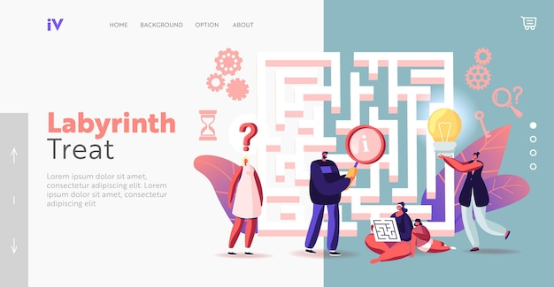 Winzige charaktere, die eine idee, eine lösung in der labyrinth-landing-page-vorlage finden. herausforderung und problemlösungskonzept. leute bei maze denken, wie man den weg zum erfolg führt. cartoon-vektor-illustration