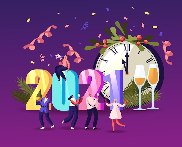 Winzige charaktere, die spaß haben und champagner bei einer riesigen glockenuhr trinken, die sich gegenseitig grüßen und tanzen, feiern 2021 ein frohes neues jahr, glückwunschkonzept. cartoon-menschen-vektor-illustration