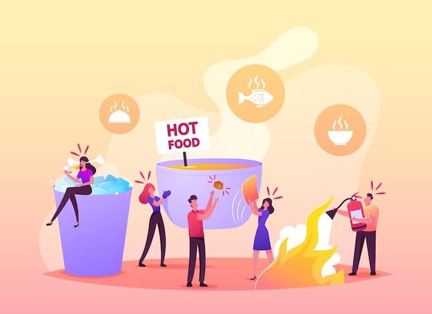 Winzige charaktere in einer riesigen schüssel mit heißem essen frau sitzt auf einer tasse mit eisschlag auf würzigem essen in der platte. mann mit feuerlöscher, leute, die scharfe mahlzeiten essen, brennen zunge. cartoon-vektor-illustration