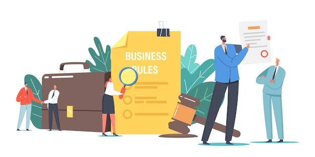Winzige charaktere lesen sie die compliance-regeln, -kulturen und -richtlinien des unternehmens. vertretung von wirtschaftsgesetzen, vorschriften und standards, ethischen praktiken, geschäftsbedingungen. cartoon-menschen-vektor-illustration
