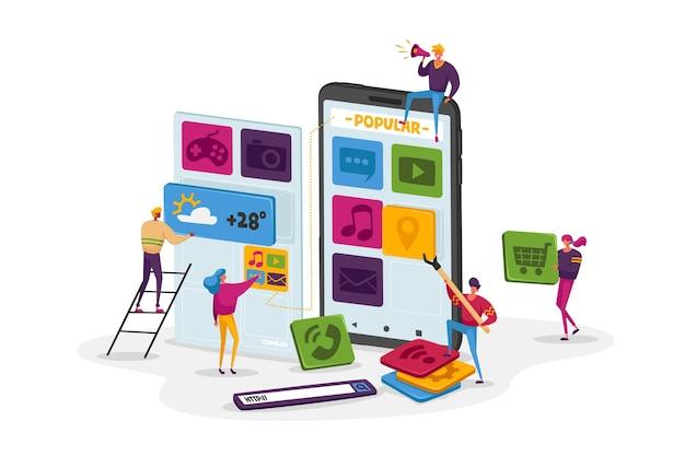 Winzige charaktere teamarbeit bei riesigen smartphone setzen sie app-symbole auf den bildschirm
