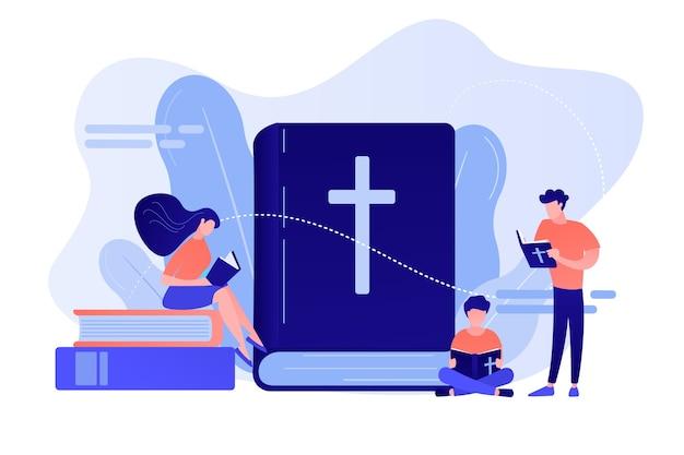 Winzige christen, die die heilige bibel lesen und etwas über christus lernen. heilige bibel, heiliges heiliges buch, das wort gottes konzept. isolierte illustration des rosa korallenblauvektors