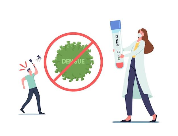 Winzige doktorfrau in medizinischer robe und maske, die ein riesiges reagenzglas mit positivem dengue-fieber-ergebnis hält mann folgt moskito mit fliegenklatsche, gesundheitswesen. cartoon-menschen-vektor-illustration