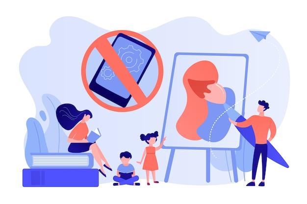 Winzige eltern malen und lesen bücher mit kindern und ohne smartphone-zeichen