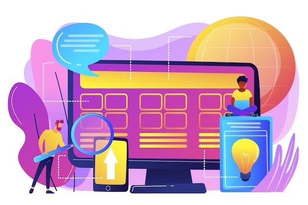 Winzige entwickler am computer, die am kernsystem arbeiten. entwicklung des kernsystems, alles in einer softwarelösung, konzept zur modernisierung des kernsystems.
