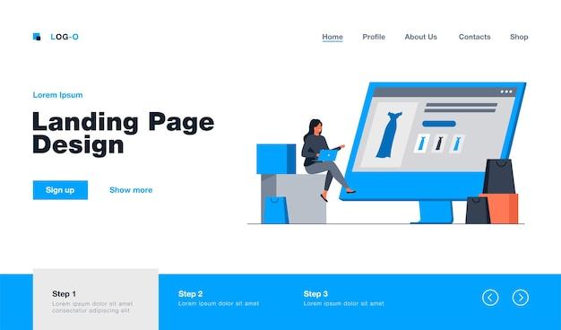 Winzige frau, die kleid im online-shop über laptop auswählt landing page im flachen stil.