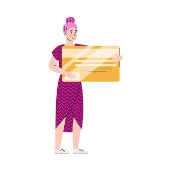 Winzige frau, die riesige plastikbankkartenkarikaturvektorillustration lokalisiert hält