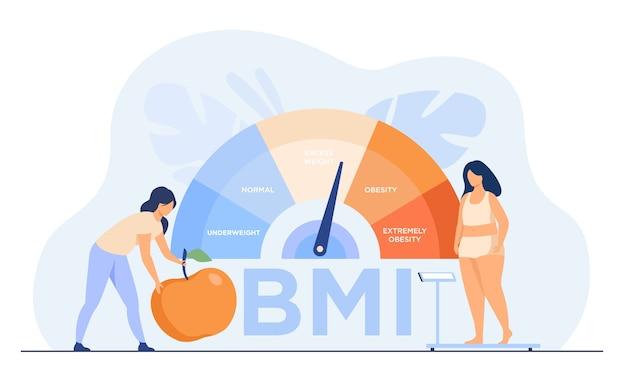 Winzige frauen in der nähe von fettleibigen diagrammschuppen isolierten flache vektorillustration. weibliche zeichentrickfiguren auf diät unter verwendung der gewichtskontrolle mit bmi. body mass index und medizinisches fitness-übungskonzept