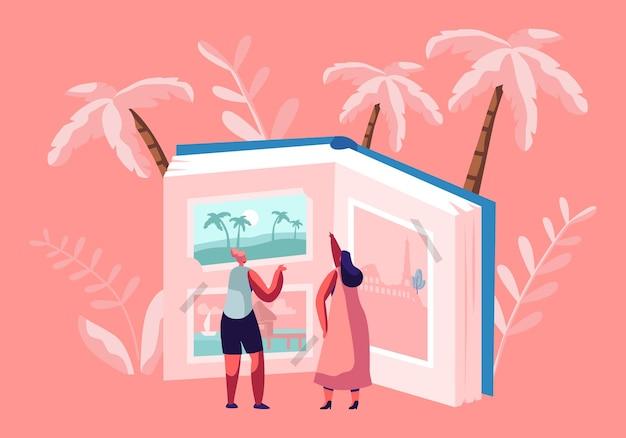 Winzige frauenfiguren, die reisende bilder in einem riesigen fotoalbum suchen