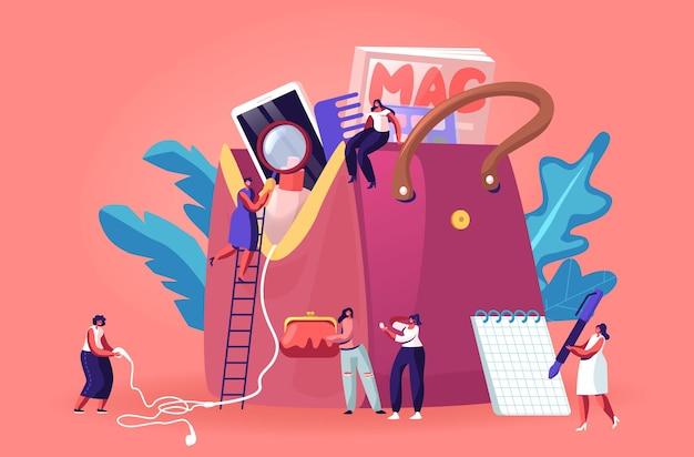 Winzige frauenfiguren laufen in einer riesigen frauentasche mit dingen und einer vielzahl persönlicher gegenstände herum. karikatur flache illustration