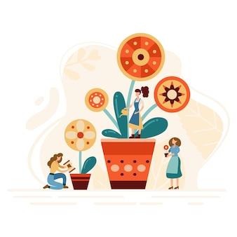 Winzige gärtner bauen pflanzen an. arbeiter, die landwirtschaftliche arbeit verrichten. neue blumen in töpfe pflanzen. vektor-illustration.