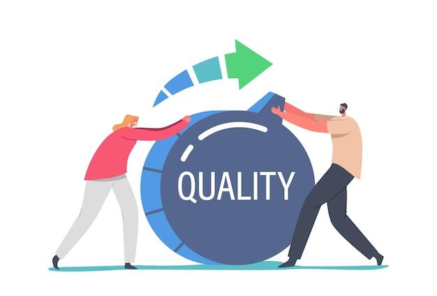 Winzige geschäftsleute-charaktere ziehen einen riesigen schalter, um die level-qualität und die bewertung der kunden-feedback-rate zu erhöhen. arbeitseffizienz-management-lösung für den erfolg. cartoon-menschen-vektor-illustration