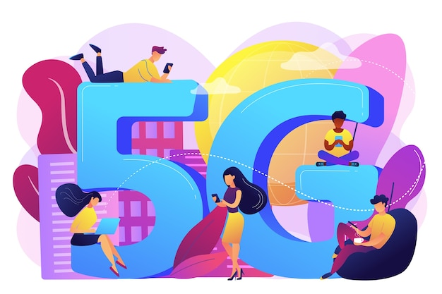 Winzige geschäftsleute mit mobilen geräten, die 5g-technologie verwenden. 5g netzwerk, konnektivität der nächsten generation, modernes mobilkommunikationskonzept. helle lebendige violette isolierte illustration