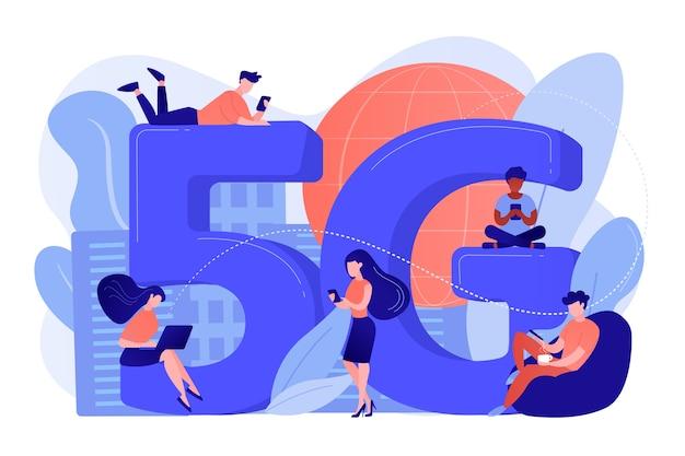 Winzige geschäftsleute mit mobilen geräten, die 5g-technologie verwenden. 5g netzwerk, konnektivität der nächsten generation, modernes mobilkommunikationskonzept