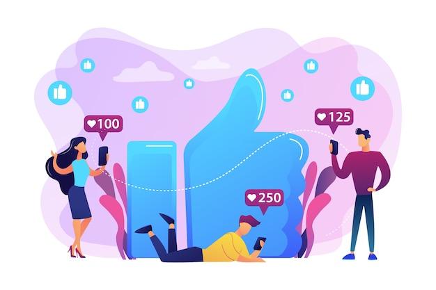 Winzige geschäftsleute mit smartphones und tablets erhalten ähnliche benachrichtigungen. mag sucht, daumen-hoch-abhängigkeit, social-media-wahnsinnskonzept. helle lebendige violette isolierte illustration