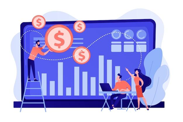 Winzige geschäftsleute und analysten verwandeln daten in geld. datenmonetarisierung, monetarisierung von datendiensten, verkauf des datenanalysekonzepts