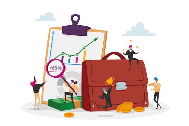 Winzige investoren männliche und weibliche charaktere bei riesigen aktentaschen und infotabellen