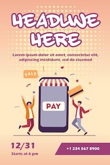 Winzige junge leute, die mit plastikkarte über flyerschablone der mobilen app bezahlen