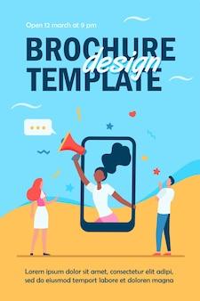 Winzige junge leute hören frau auf smartphone-bildschirm flyer vorlage