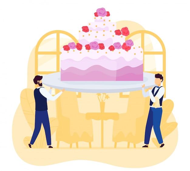Winzige kellnerleute, die riesige hochzeitstorte zum restaurant tragen, illustration