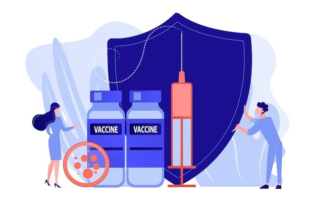 Winzige leute ärzte und spritze mit impfstoff, schild. impfprogramm, impfstoff gegen krankheiten, konzept des medizinischen gesundheitsschutzes. isolierte illustration des rosa korallenblauvektorvektors