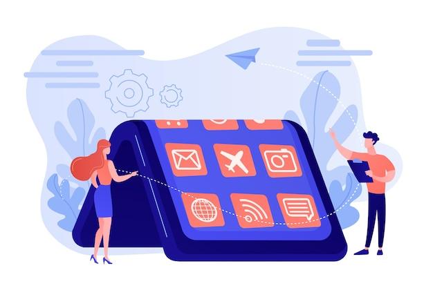 Winzige leute am großen smartphone mit flexiblem display. biegbare gerätetechnologie, flexibles anzeigegerät, elektronikkonzept der nächsten generation